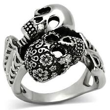 Men's Stainless steel Skull Skeleton Flower 2 two Biker Punk Goth Gothic Ring