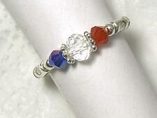 "CYNTHIA LYNN ""GIVE ME LIBERTY"" JULY 4 RED WHITE BLUE CRYSTAL PATRIOTIC RING"
