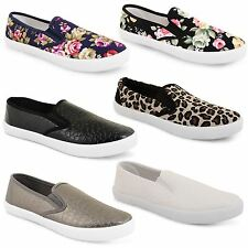 Womens Ladies Skater Trainers Flat Slip On Plimsolls Casual Canvas Pumps Shoes