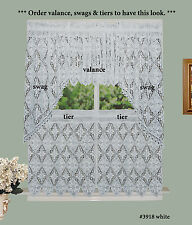 Crochet Lace Kitchen Curtain Valance Tier or Swag White 100% Cotton Knitted