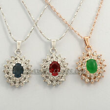 Rhinestone Simulated Ruby  Sapphire Emerald Necklace Pendant 18KGP Crystal