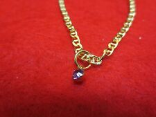 "14 KT GOLD PLATED 9 1/2"" ANCHOR CHAIN ANKLET W/ AUSTRIAN CRYSTAL BIRTHSTONE"