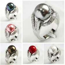 Fashion Women's 12mm South Sea Shell Pearl Gemstone Jewelry Ring Size 6 7 8 9