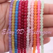 """4mm Round Smooth Jade Gemstone Spacer For Jewelry Making Beads 15"""" Pick Color"""