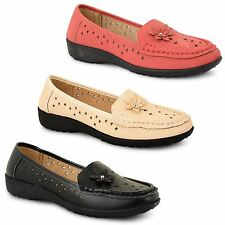 Womens Ladies Smart Casual Formal Summer Bow Moccasins Loafers Shoes Pumps