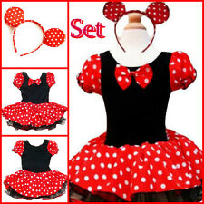 Girls Reds Minnie Mouse Costume Princess Party Dresses AGE 1 2 3 4 6 7 8 10Y Set