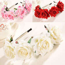 Rose Flower Crown Wedding Festival Headband Hairband Floral Garland Headpiece
