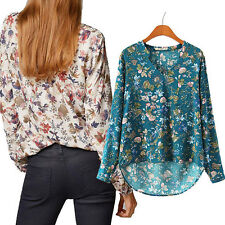 Women Print V-NECK Blouse Long-sleeve Top Shirt Lady Casual Shirt New Elegant