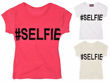 Girls Short Sleeved Hashtag Selfie Slogan T Shirt Kids Top New Ages 5-13 Years