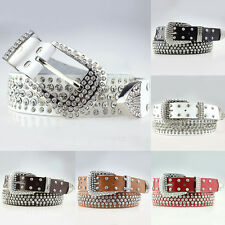 New Women Western Rhinestone Rodeo Bling Belt Synthetic Suede Leather Cowgirl