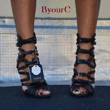 BNWT Genuine ZARA Sold out BLACK LEATHER HIGH HEEL GLADIATOR SANDALS 1530/001