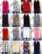 Women Real Rabbit Fur Scarf Collar Shawl Long Scarves Wrap Muffler Handmade new