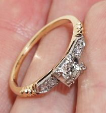 LADIES VINTAGE 14K GOLD MINE CUT DIAMOND ENGAGEMENT RING 1/5 CTTW SIZE 6 ESTATE