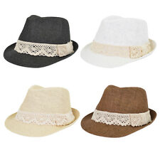 Women's Lace Ribbon Band Fedora Straw Sun Hat - One Size Different Colors Avail