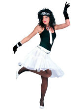 Sexy Ladies Tulle Petticoat Ruffles Layered Skirt Tutu White Fancy Dress 1980s