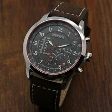 CURREN Men's Sport Casual Quartz Wrist Watch Male Genuine Leather Strap Band