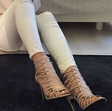BNWT Genuine ZARA Bloggers New 2015 NUDE LEATHER HIGH HEEL SANDAL BOOT All sizes