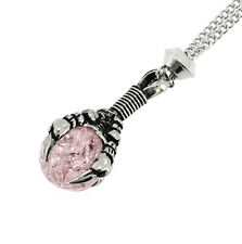 Handmade Dragon Claw Pink Cracked Glass Sphere Pewter Chain Pendant