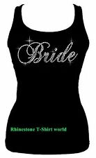 RHINESTONE WEDDING (BRIDE) TANK TOP SHIRT BLACK SIZE:S,M,L,XL,2XL.3XL PLUS SIZE