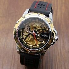 WINNER Wrist Watch Rubber Band Silver/Golden Case Skeleton Automatic Mechanical