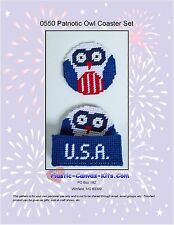 Patriotic Owl Coaster Set-Independence Day-Plastic Canvas Pattern or Kit