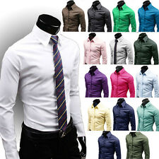 Luxury Business Mens Slim Fit Long Sleeve Formal Dress Shirts Tops Solid Cotton