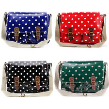 Oilcloth Polka Dots Women Bag Messenger Satchel Large Shoulder Bag Bookbag A4