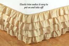 Wrap-Around Gypsy Shabby Neutral Chic Ruffled Layers Bedskirt Bed Dust Ruffle