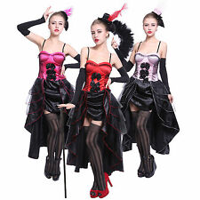 Moulin Rouge Showgirl Dancer Fancy Dress Can Can Girl Costume Burlesque Outfit