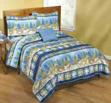 Blue Western Cowboy Wild Running Horse Bed Quilt Set Cover King