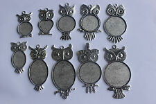10x Antique Silver Owl Blanks Trays Pendant for cabochon settings necklace craft