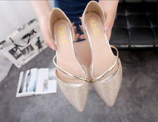 Fashion Womens Ladies Causal Loafters Pointy Toe Flat Heel Ballet Shoes Pull On