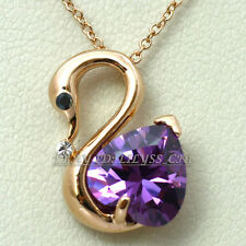 Fashion Rose Gold Plated Swan Necklace & Pendant 18KGP Crystal Rhinestone