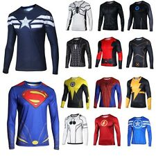 New! Men Compression Superhero T-shirt Long Sleeve Sports Casual Top Tee