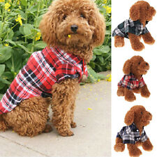 Cute Plaid Dog Puppy T-Shirt Suit Clothes Apparel Coats Top for Small Pet Dog