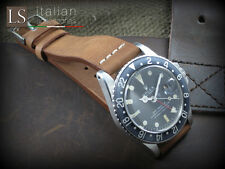 20 mm Genuine Italian Leather LS VINTAGE Watch Strap Band for Rolex Brown