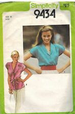 9434 Vintage Simplicity Sewing Pattern Misses Button Front Blouse Cap Sleeves