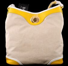 NWT BODHI NEW YORK LEATHER & COATED LINEN TURN LOCK SHOULDER BAG HOBO $248 NEW