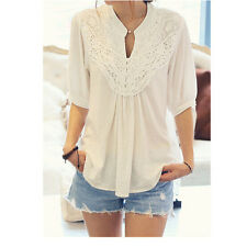 Women Chic Half Sleeve White Lace Splicing Flower Casual T-Shirt Top Blouse