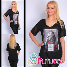 Party T-Shirt Manhattan Print V Neck Sequined Top Casual Tunic Sizes 8-12 FB90