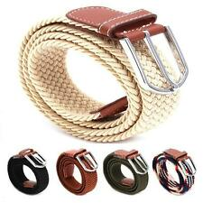 Mens Casual Belt Woven Stretch Elastic Braided Leather Buckle Waistband Belts JA