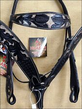 HILASON WESTERN LEATHER HORSE BRIDLE HEADSTALL BREAST COLLAR BROWN RUSTIC INLAY