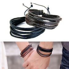 Men Women Lover Leather Bracelet Braided Wrap Multi-Layer Rope Fashion Wristband