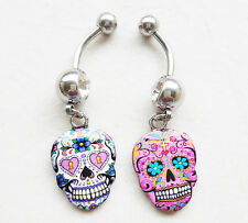 316L Steel enamel Sugar Skull dangle Belly Button Navel ring with clear CZ