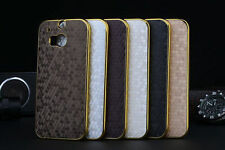 Premium Luxury Electroplate Golden Rim Edge Hard PC Case Cover For HTC One M8