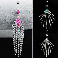 1PC Long Tassel Body Piercing Crystal Rhinestone Navel Belly Dangle Bar Ring Hot