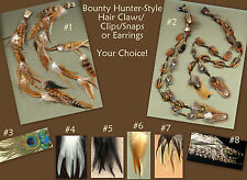CUSTOM Feather Dangle Set - Choose Hair Claw/Clip, Snap, Ring or Earrings! WOW!