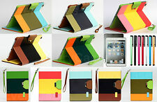 For iPad Mini Colorful Stripes Luxury Design Faux Leather Folding Stand Case