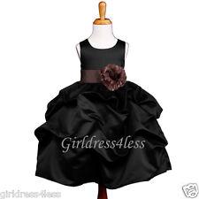 BLACK/BROWN WEDDING BALL GOWN PICK UP FLOWER GIRL DRESS 6M 12M 18M 2 4 6 8 10 12