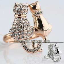 'Cats In Love' Fashion Ring 18KGP Use Rhinestone Crystal Size 5.5-9
